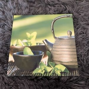 Picture wall art, nature leaves tea pot bowl